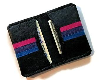 Bi Pride leather card wallet Bisexual LGBT Bisexuality accessories