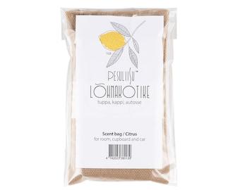 Scent bag with citrus essential oil. Lõhnakotike tsitruste eeterliku õliga.