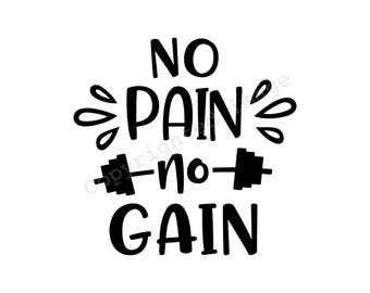 9a237bc353 Decal - No Pain No Gain - For cups, cars, laptops, tumblers, glasses etc.
