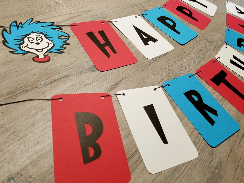 26385abe6429b Thing 1 and 2 Inspired Birthday Banner, Dr. Suess, Red, White, Blue, Twins,  Triplets, Photo Prop, Paper Flag Banner