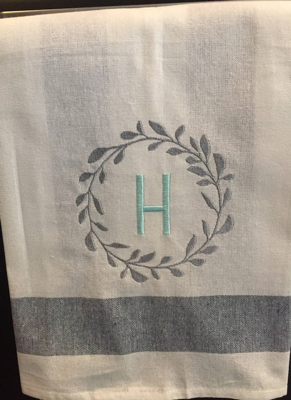 Personalized Tea Towel Monogrammed Kitchen Towel Kitchen Etsy