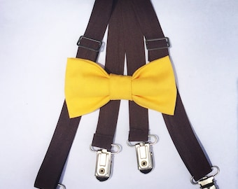 Yellow bow tie and suspender set, Brown suspenders, Toddler suspender, Kids suspender, Baby bow tie set, Baby suspenders, suspender bow tie