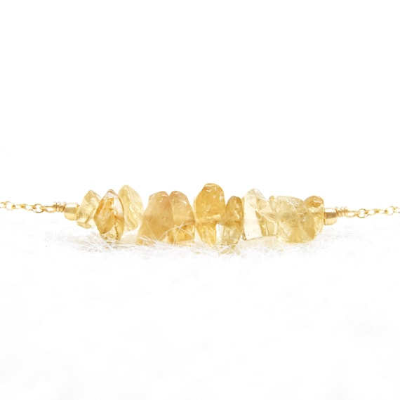 Raw Citrine Necklace • 14k Gold Filled, 14k Rose Gold Filled, Or Sterling Silver • Handmade Birthstone Jewelry by Etsy