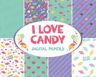 I love candy digital paper clip art/Sweets pattern/Sweet Tooth/Hearts pattern/Design elements/Nursery art/Polka dot/Stripes/Mint Color/Retro