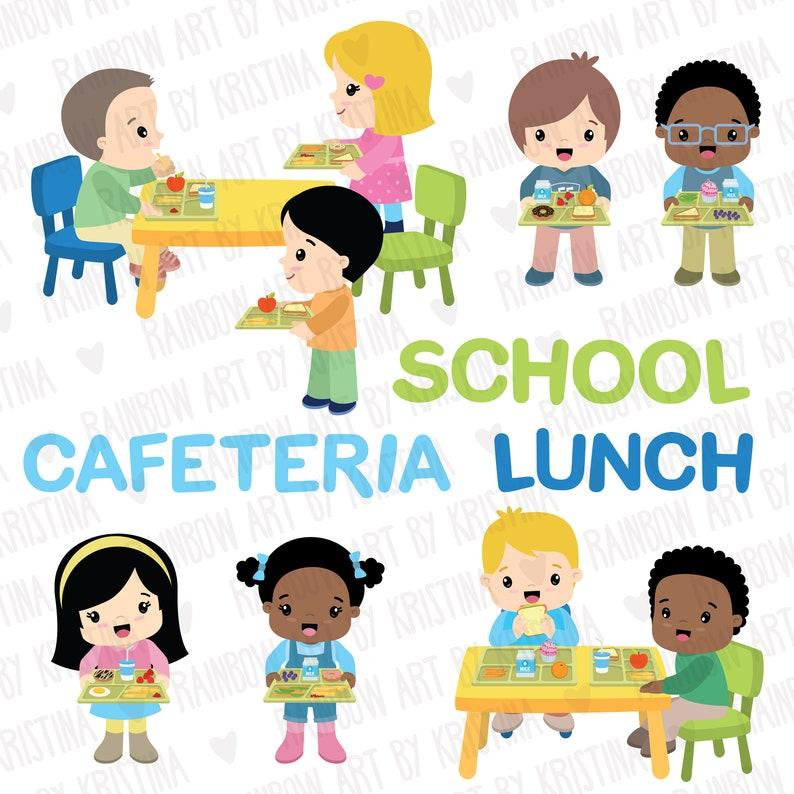 School children lunch cafeteria clip art Kids eating ...