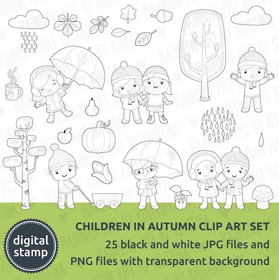Digital Stamp Autumn Children Black And White Clip Art