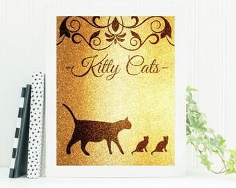 Printable Nursery Art, Cat Art, Instant Downloadable Print, Nursery Decor, Cat Print, Downloadable Art, Digital Prints, Cat Nursery, Kitten