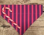 Aktion - Streifen lila und pink - Hundehalstuch mit Tunnel, 20 cm