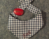 Marineblaues Vichykaro  - Hundehalstuch zum Binden