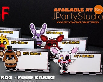 FNAF food card, FNAF tent card, FNAF party decoration, set of 12