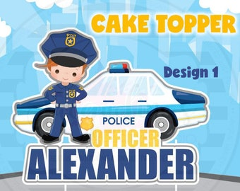 Police cake topper, Cop cake topper, Police party theme,