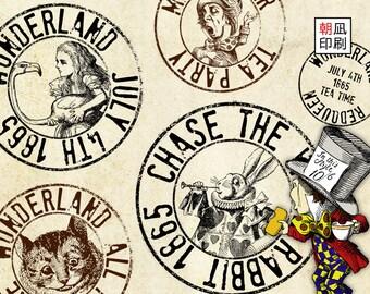 Printable Alice in Wonderland postal stamp set for paper crafting digital collage sheet instant download white rabbit mad hatter - S003