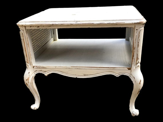 Vintage  French Provincial Side Table   Shabby Chic Table   French Country  Chic   Distressed   White Table   Farmhouse