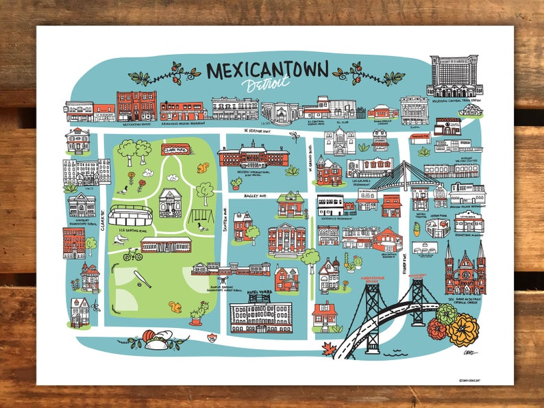 Detroit Illustration, Mexicantown Streets - Art Print, Wall Art, Detroit on map of dearborn, map of neighborhoods in detroit, map of lincoln park, map of brownstown, map of romulus, map of west detroit, map of river rouge, map of se detroit, map of westland,