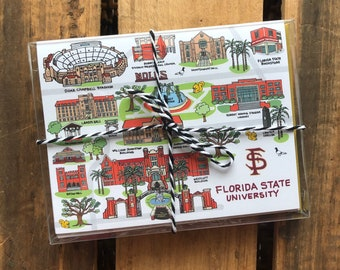 8 Pack, Florida State University Notecards 4.25 x 5.5 -Cards, FSU Tallahassee Buildings, FSU Grad Cards, Pack of Notecards, Grad Gift