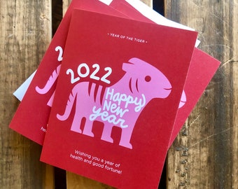 Year of the Tiger, 4.25 x 5.5 - A2 card, cute tiger, winter season, Happy 2022 card, new year card, Chinese New Year