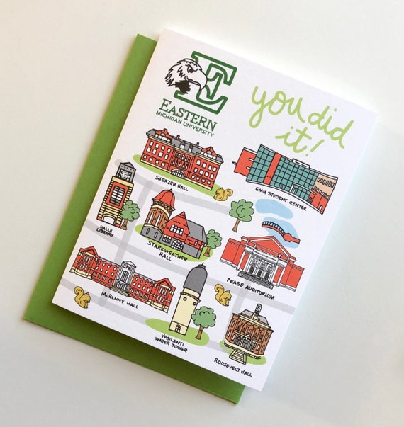 Eastern Michigan University You Did It Greeting Cards 4 25 X Etsy