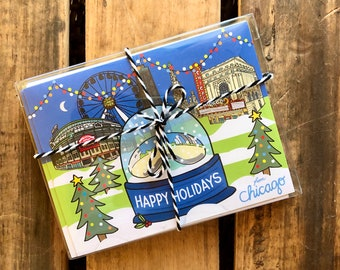 Set of 8 Chicago Happy Holidays Card, Chicago snow globe, spirit of Chicago Holiday card 4.25 x 5.5 - A2