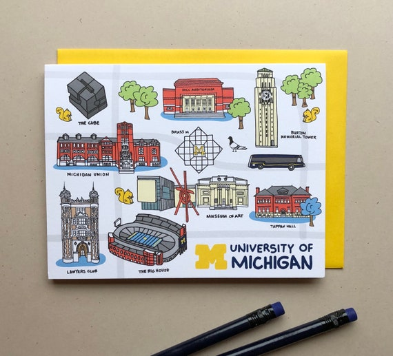 University Of Michigan Notecards 4 25 X 5 5 A2 Campus Map Etsy