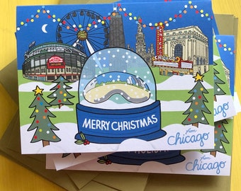 Chicago Merry Christmas Card, 4.25 x 5.5 - A2, The Brean snow globe , Downtown Chicago, illustrated holiday card