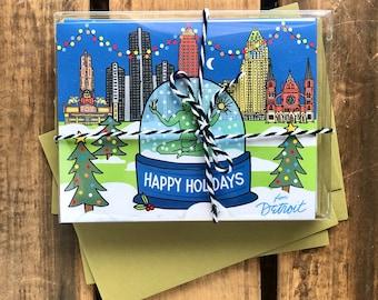 Set of 8 Detroit Happy Holidays Card, Detroit snow globe, spirit of Detroit Holiday card 4.25 x 5.5 - A2