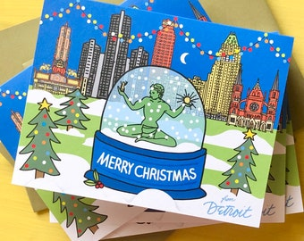 Detroit Merry Christmas Card, 4.25 x 5.5 - A2, Spirit of Detroit snow globe , Downtown Detroit , illustrated holiday card