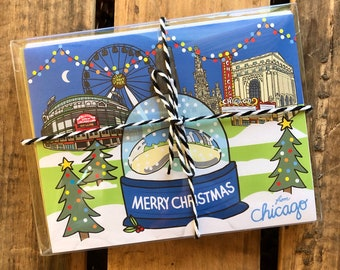 Set of 8 Chicago Merry Christmas Card, Chicago snow globe, spirit of Chicago Christmas card 4.25 x 5.5 - A2