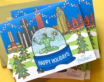 Detroit Happy Holiday Card, 4.25 x 5.5 - A2, The Bean snow globe , Downtown Detroit, illustrated holiday card
