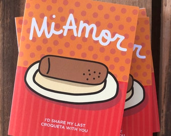 Mi Amor Card, 4.25 x 5.5, My Love in Spanish, Greeting Cards, Humorous Cuban Croqueta food lovers