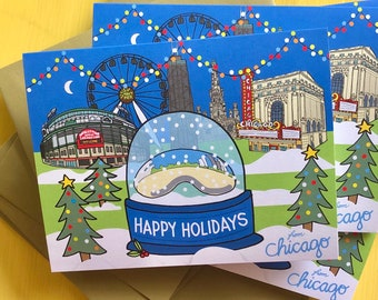 Chicago Happy Holiday Card, 4.25 x 5.5 - A2, The Bean snow globe , Downtown Chicago , illustrated holiday card