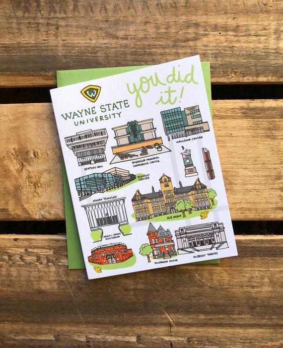 Wayne State University You Did It Greeting Card 4 25 X 5 5 Etsy