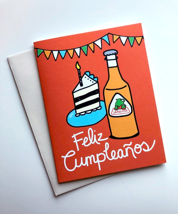 Happy Birthday In Spanish.Feliz Cumpleanos Card 4 25 X 5 5 Happy Birthday In Spanish Greeting Cards Birthday Card Jarritos Mexican