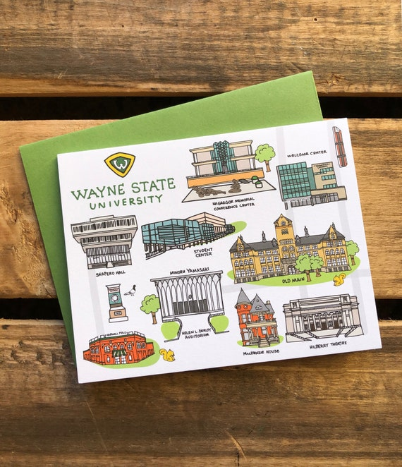 Wayne State University Notecards 4 25 X 5 5 A2 Campus Map Etsy
