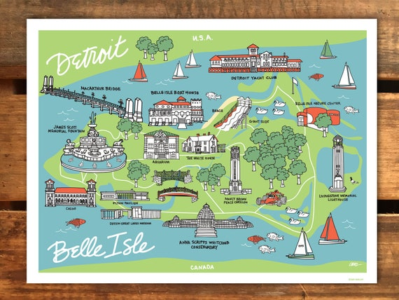 Detroit Illustration Belle Isle Park Art Print Detroit Map | Etsy