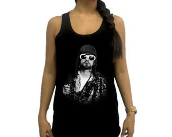 dcb46a7580f99 Kurt Cobain Celebrities Women Tank Top Singlet Vest Tunic Tee Shirt Black    Dark Gray