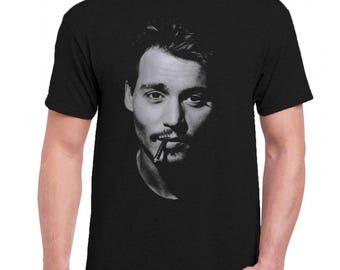 cecf45583d735 Johnny Depp Celebrities Men Tee Shirt T-Shirts Black   Dark Gray