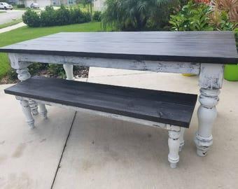 JUDAH Farmhouse Table and Bench Set!