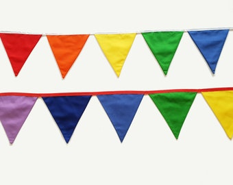 Rainbow fabric bunting banner flags party decoration. 14 flags 2.75m/9' for rainbow birthday and unicorn party