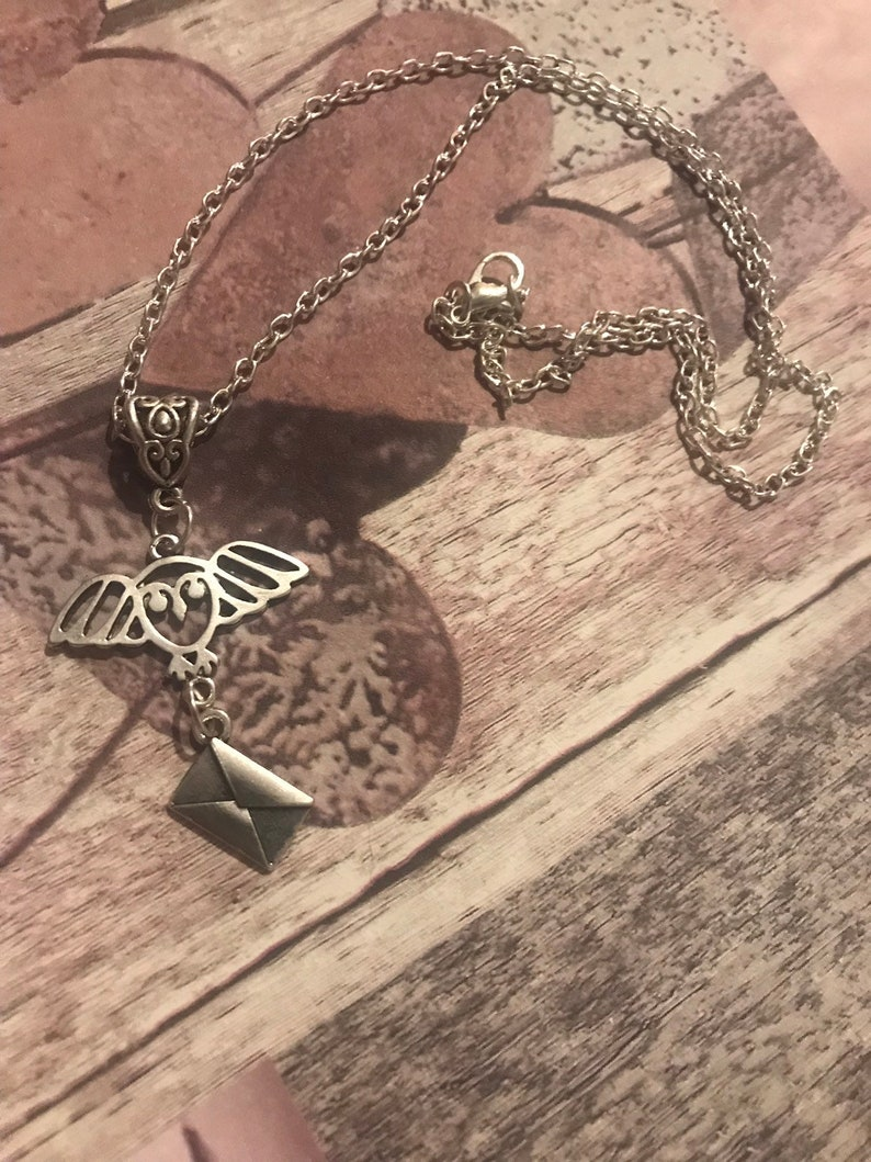 Handmade owl post Harry Potter inspired charm necklace