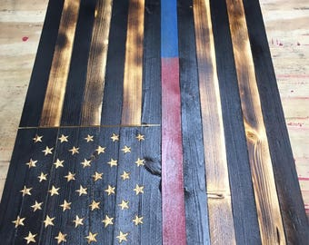 Thin Red Blue Line Wood American Flag Charred