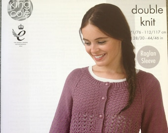 89751380944c1f Ladies Knitting Pattern King Cole 4342 Sweater and Cardigan