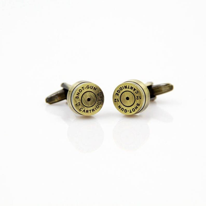 Antique Bronze Shot Gun Cartridge Bullet Cufflinks