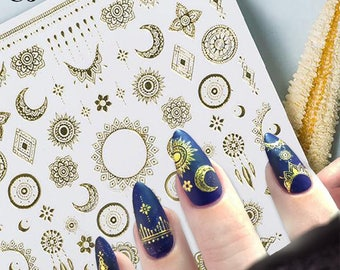 Moon Nail Decals Etsy