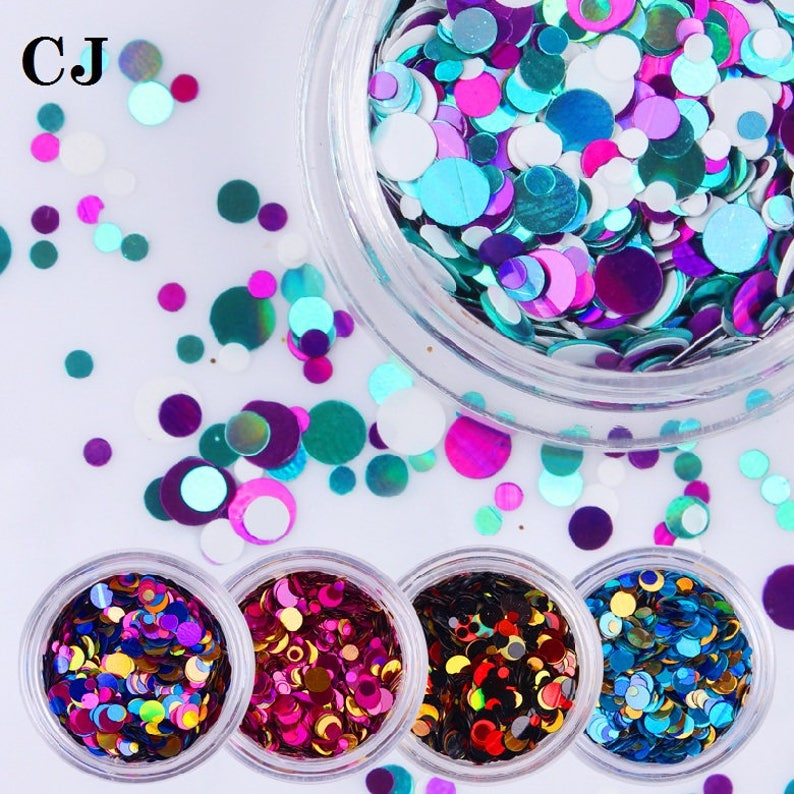 6c318af199 1 Box Nail Art Glitter Shiny Round Ultrathin Sequins Colorful Tips 1mm 2mm  3mm Manicure 3D Nail Art Decoration