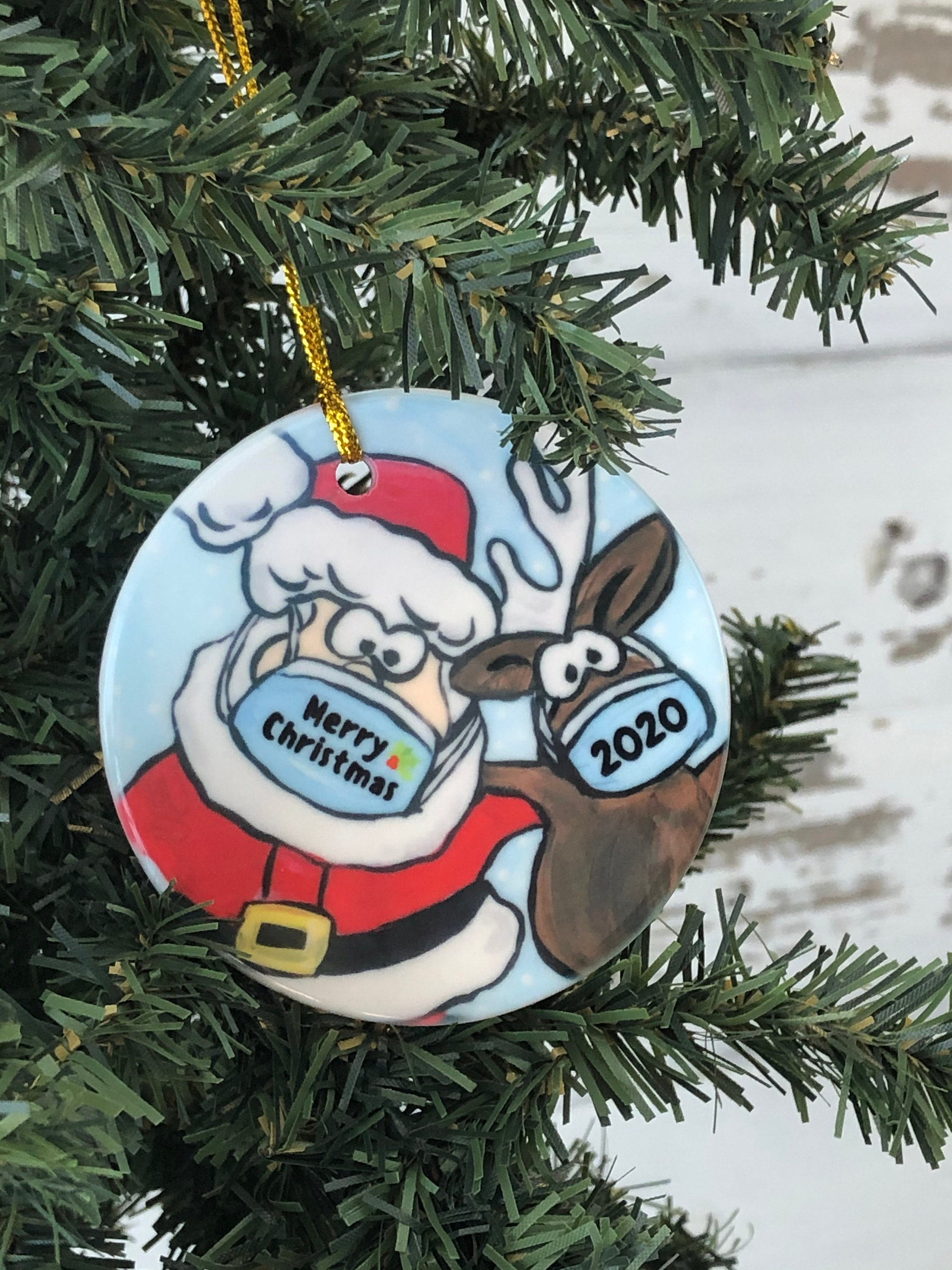 Covid Ornament Santa And Reindeer With Mask Pandemic Holiday Gift 2020 Virus Ornament Covid19 Christmas Gift Fun Gift Tree Trimming