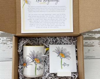 New Beginnings Box, Daisy mug and tile gift set,New job gift,New mom,New house gift, Uplifting gift, Gift for a friend, Good Luck, New Start