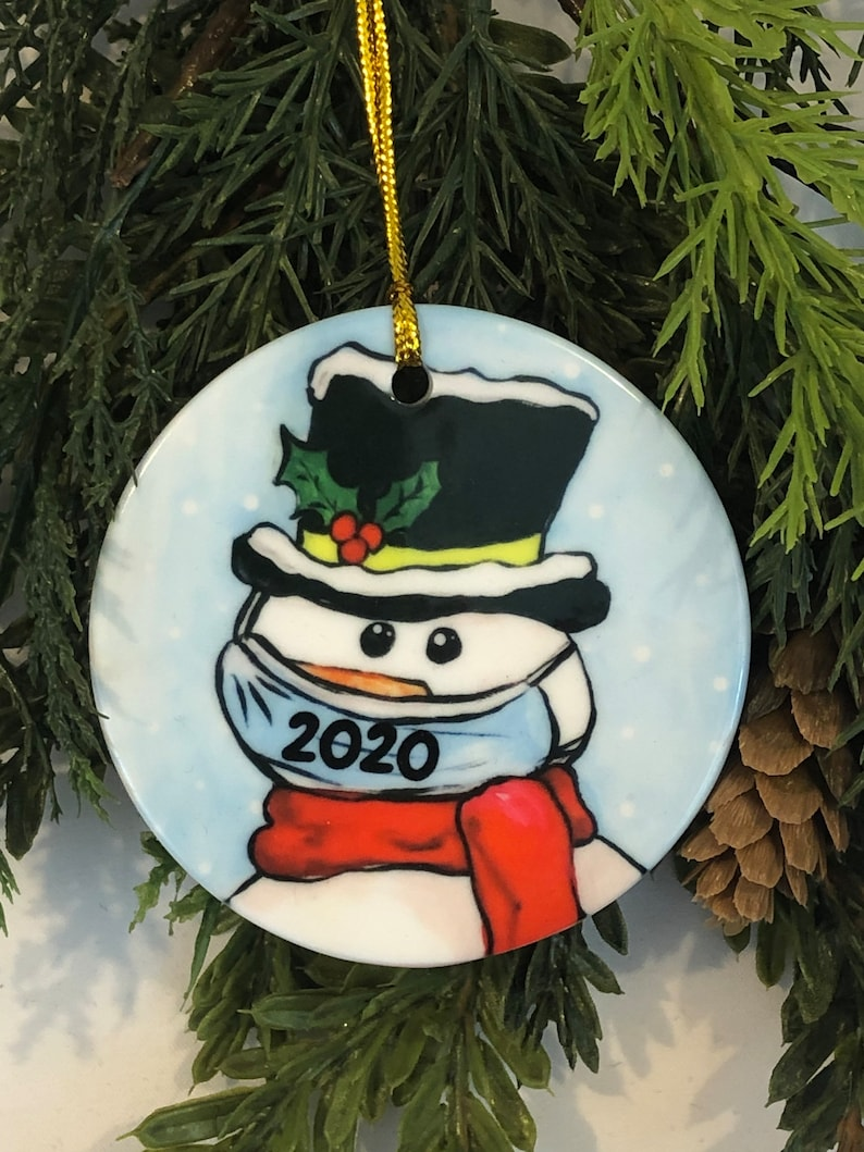 COVID Snowman with mask Christmas Ornament Pandemic gift ...