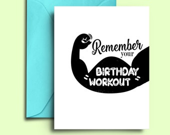 Printable DIY Fitness Birthday Card For Workout Cross Fit Trainer Instructor Students