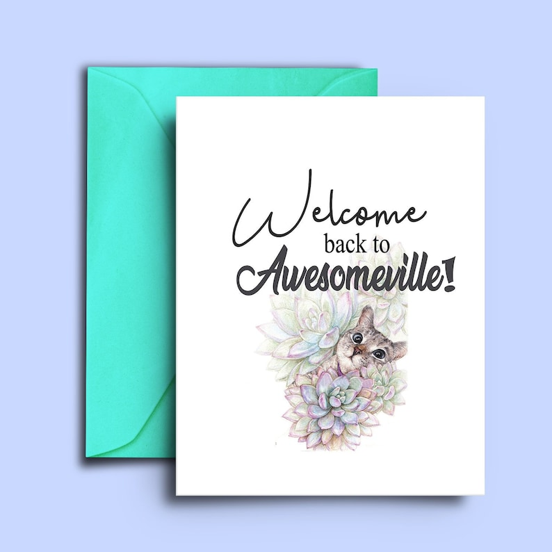 929d8f2ebbe8 Cute Funny Welcome Home Card for Cat Lovers Cat Owners