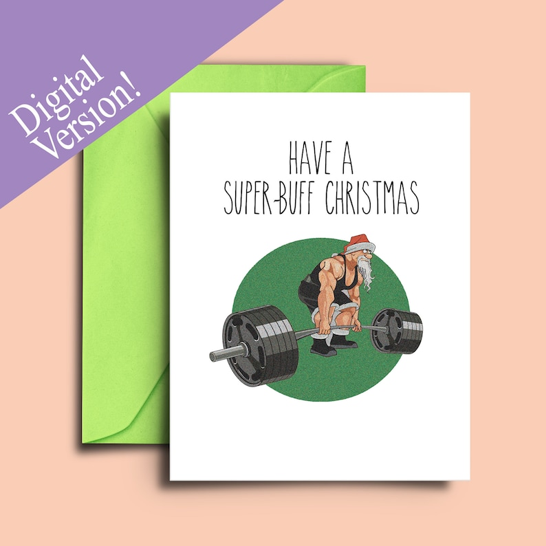 photograph relating to Printable Workout Cards referred to as Printable Amusing Health and fitness Xmas Card - Health and fitness center and Exercise Themed Greeting Playing cards, Getaway Playing cards for Particular person Instructor Exercise Trainer